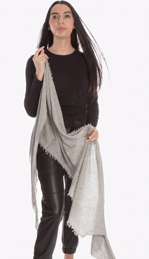 love cashmere scarf in charcoal grey and milk microstripe by grisal