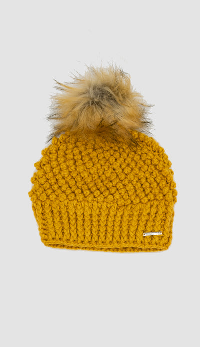 honey yellow crochet hat with detachable pom pom in faux fur