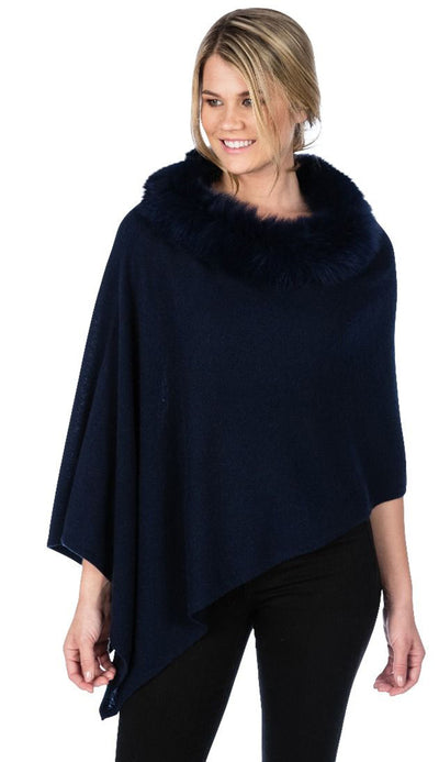 indigo fox trim topper by claudia nichole cashmere
