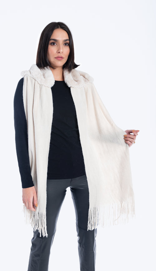 faux fur scarf stole ivory faux fur and knit