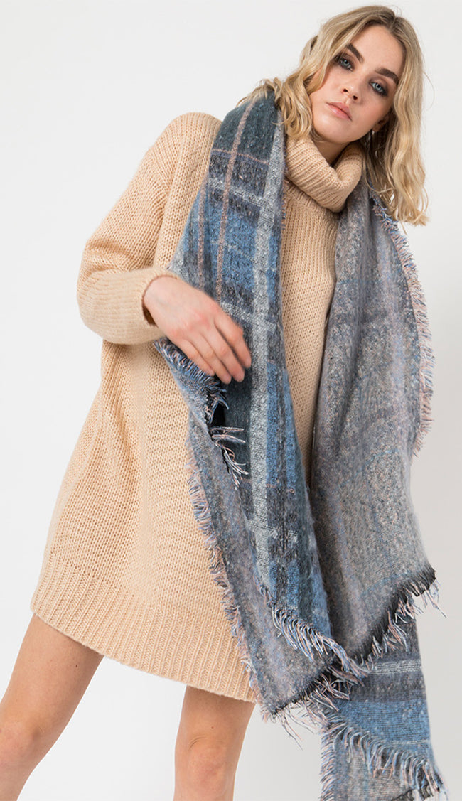 pia rossini jax blanket scarf in blue view 2
