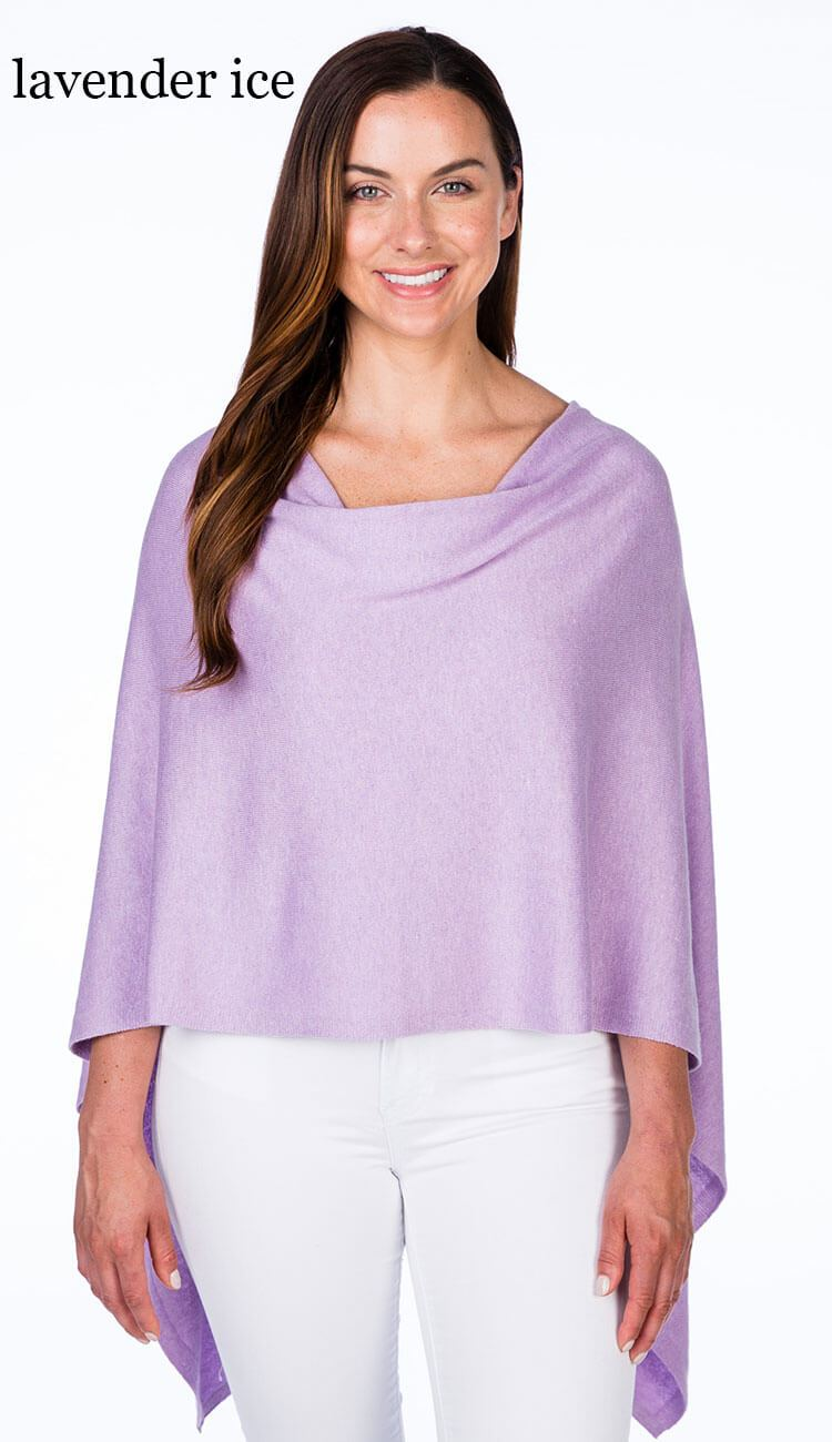 caroline grace cotton cashmere topper in lavender ice