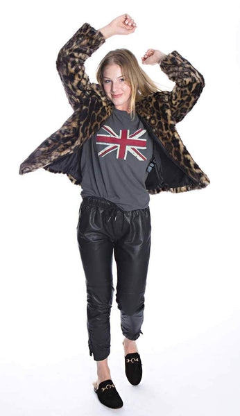 leopard print fur jacket paired with our leather joggers and union jack tee