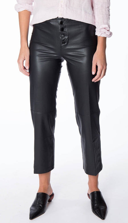 Blake Ankle Zip Jogger - Black Vegan Leather