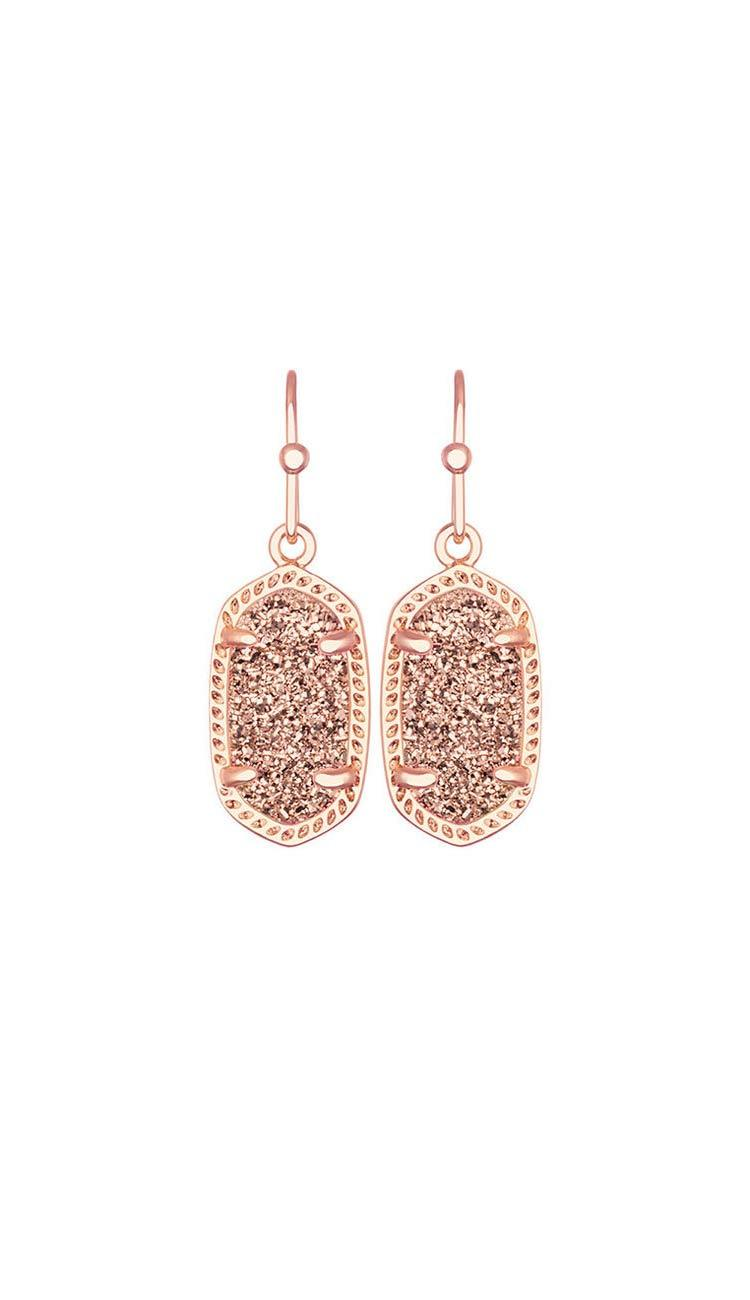 Rose Gold Drusy Lee earrings by Kendra Scott