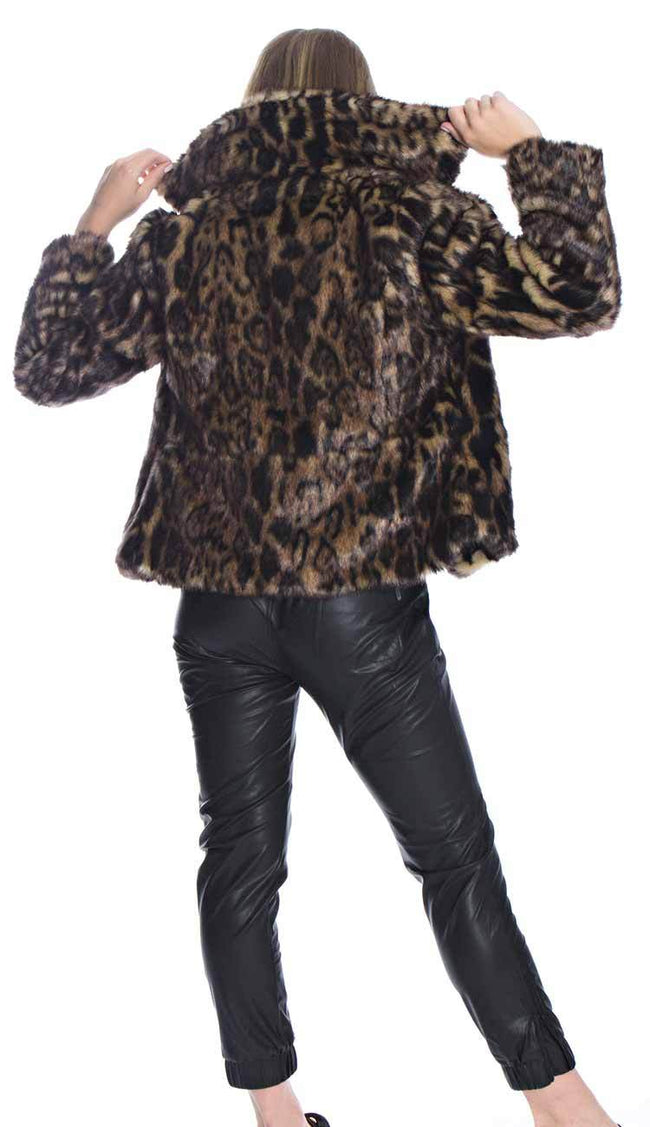 leopard print fur jacket back view