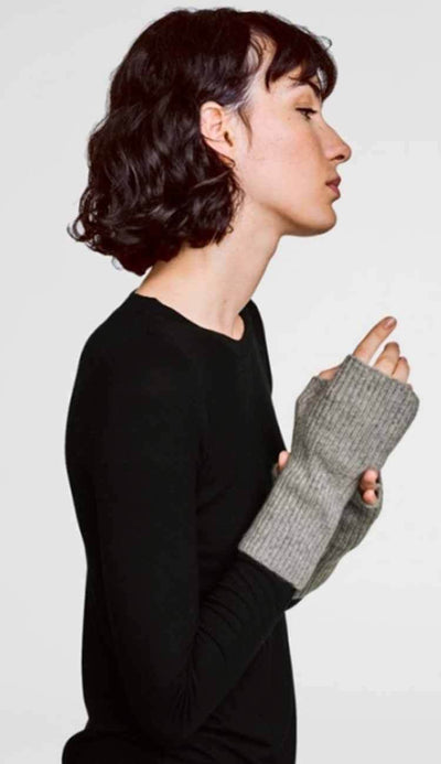 grey heather cashmere plush rib arm warmer