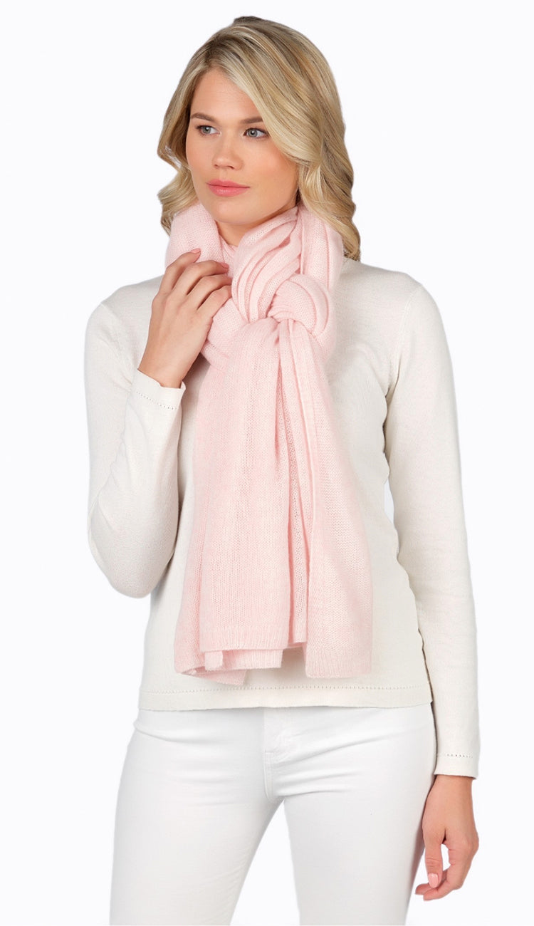 light weight travel wrap tied as a scarf pink - claudia nichole