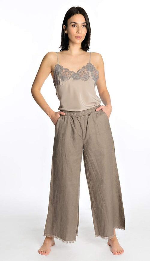 Wide Leg Linen Belted Pant - Taupe