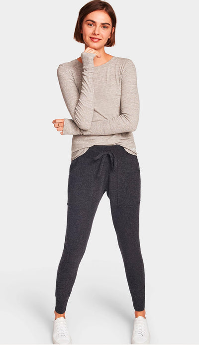 charcoal cashmere lounge pant by white and warren