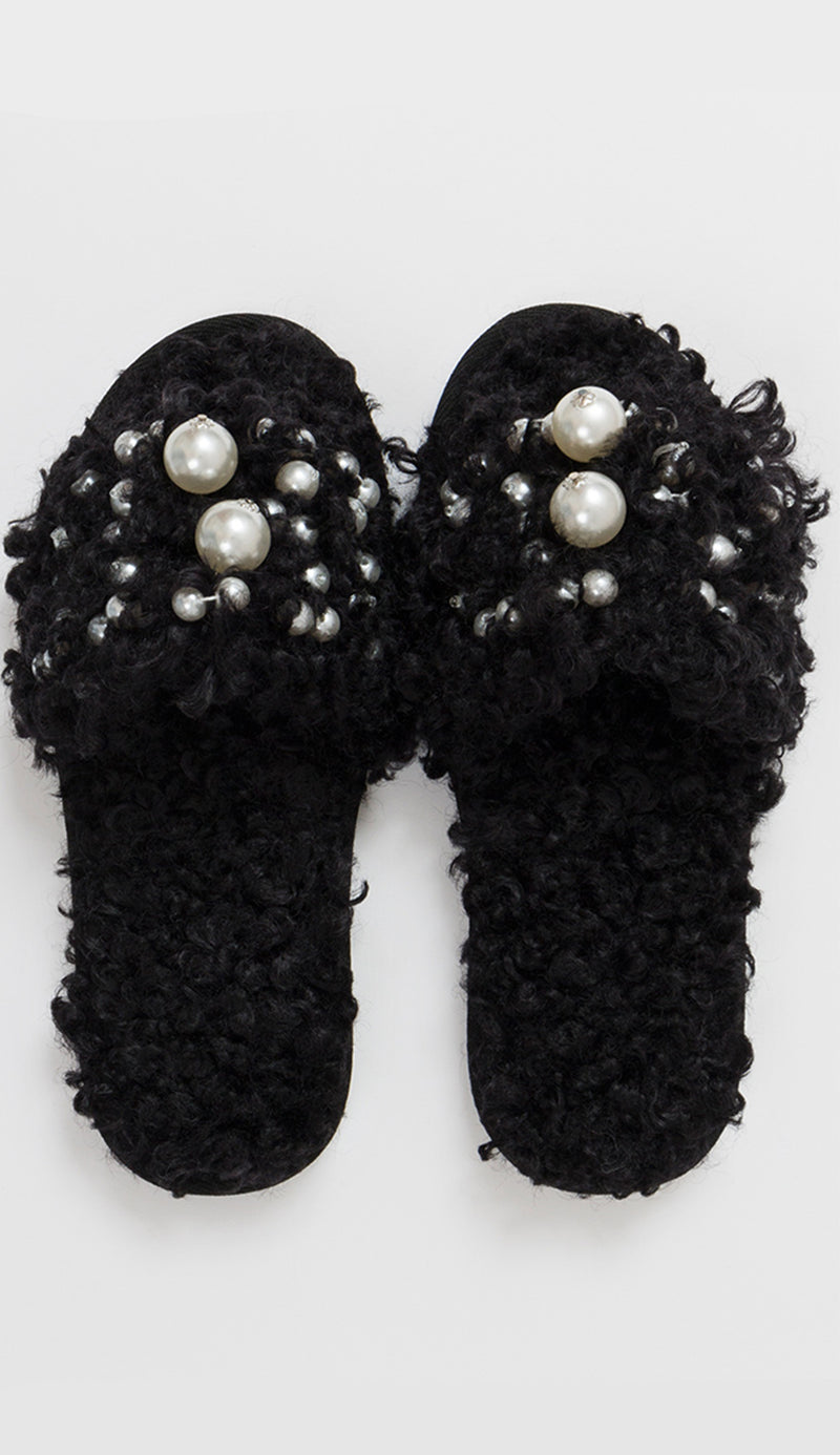 Maisie slipper with pearls in black front view pia rossini