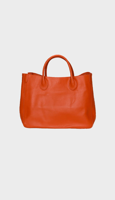 medium beck tote in marie orange front view