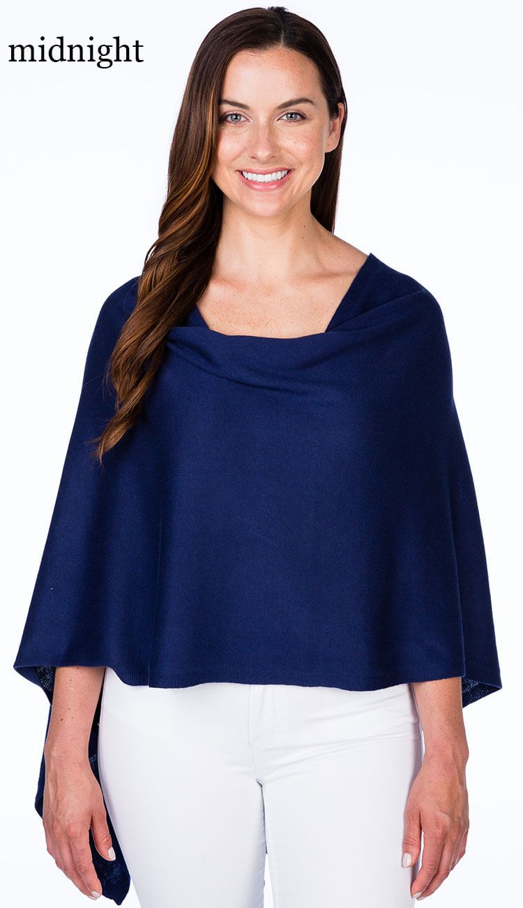 caroline grace cotton cashmere topper in midnight blue