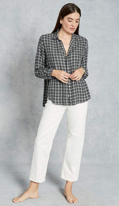 eileen model windowpane check charcoal frank and eileen button down shirt