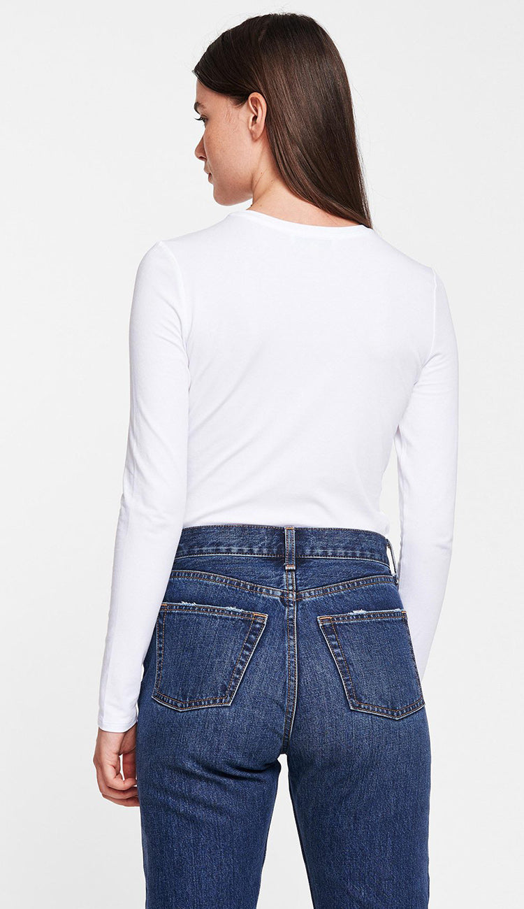 Modal Cotton Tee in white back view by White + Warren