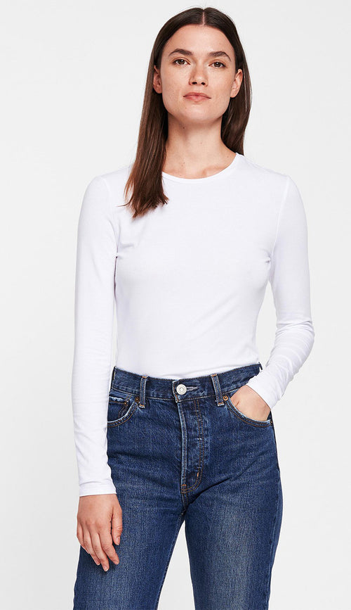 white and warren modal cotton crewneck tee in white