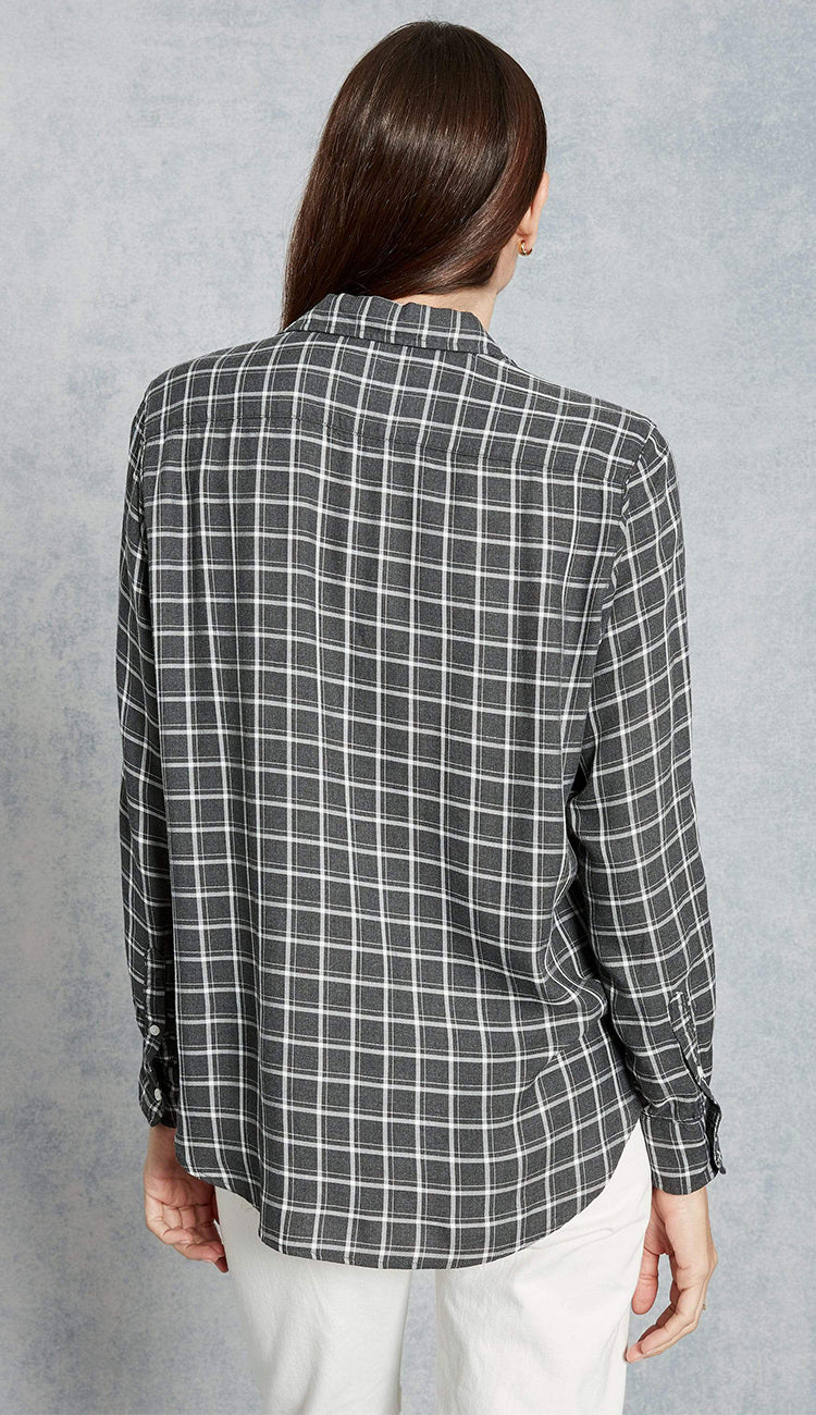 eileen model windowpane check charcoal frank and eileen button down shirt back view