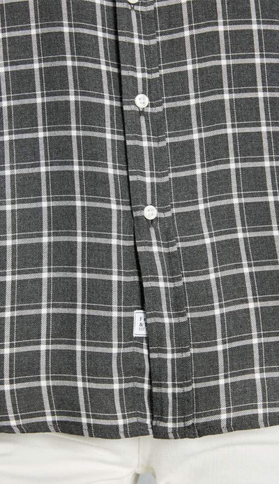eileen model windowpane check charcoal frank and eileen button down shirt detail view