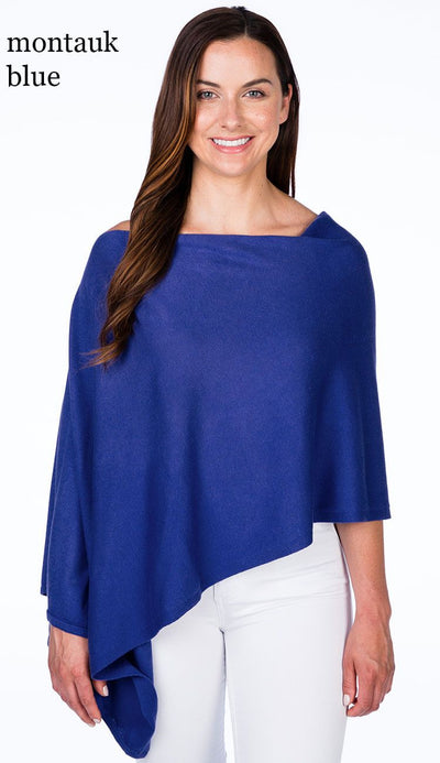 caroline grace cotton cashmere topper in montuck blue