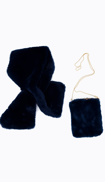 navy blue pull through scarf shown with faux fur crossbody