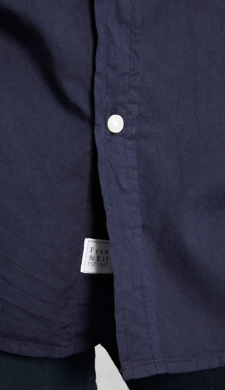 eileen midnight blue light poplin button down shirt by frank and eileen detail view