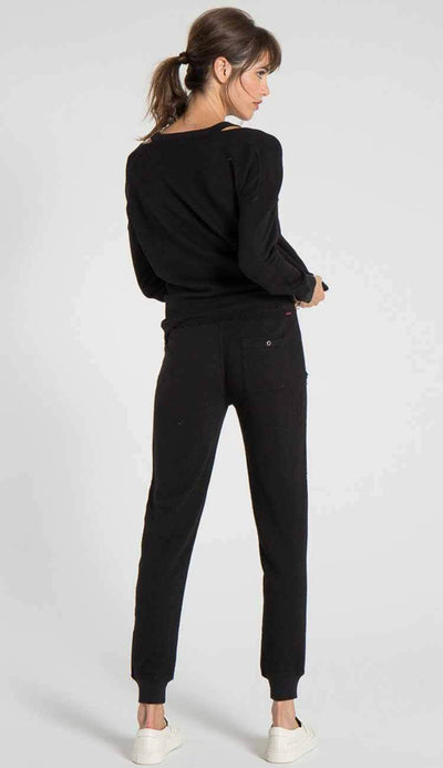 Nikki Deconstructed sweatpant by philanthropy in black cat back view