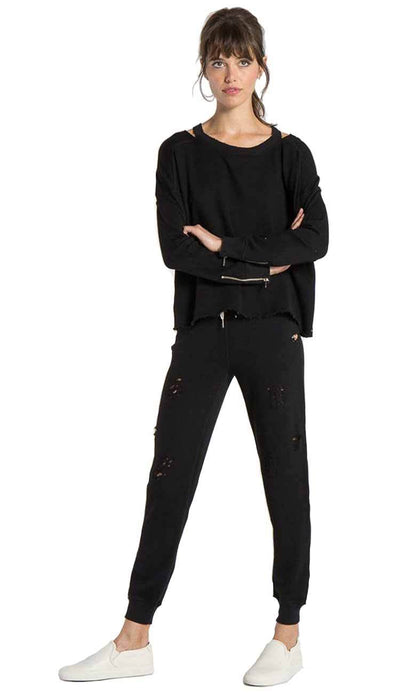 Nikki Deconstructed sweatpant by philanthropy in black cat