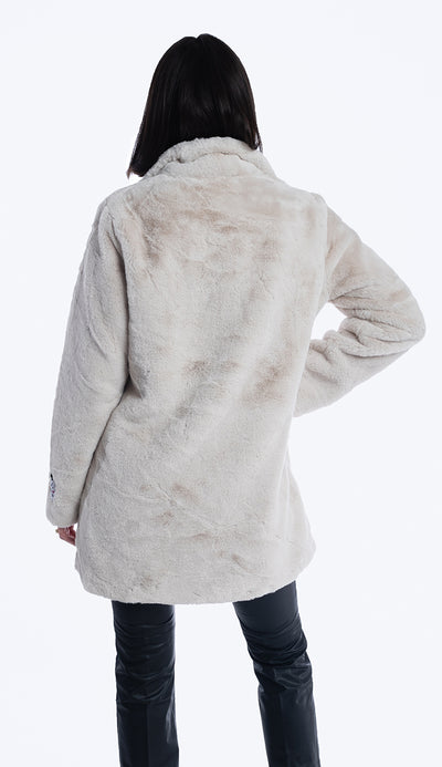 rino and pelle nonna faux fur coat in sand