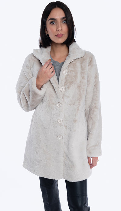 nonna faux fur coat in sand by rino and pelle