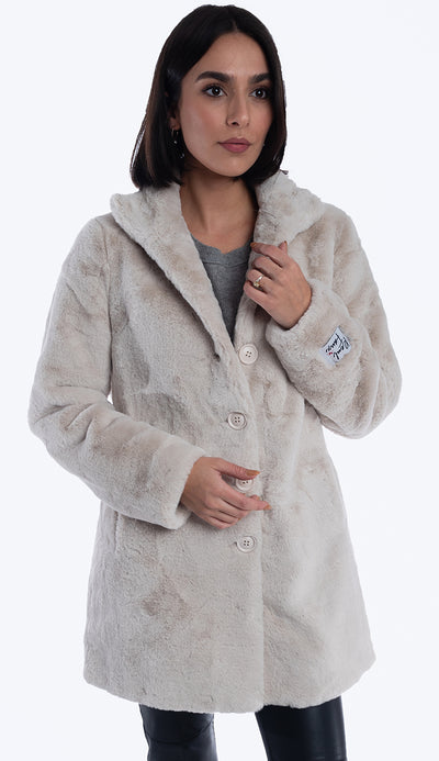 Nonna Faux Fur Coat - Sand