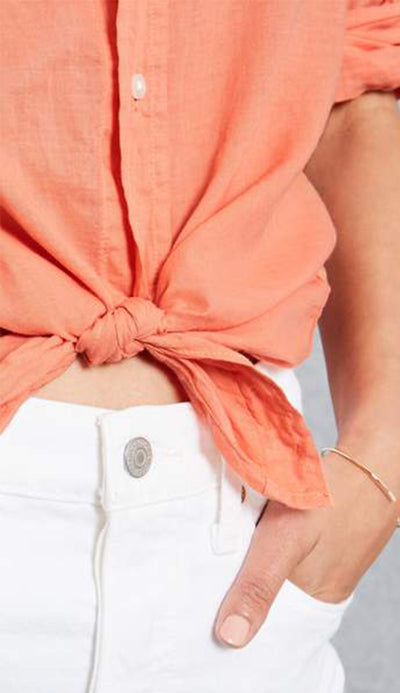 eileen button down shirt in orange cotton voile by frank and eileen detail view