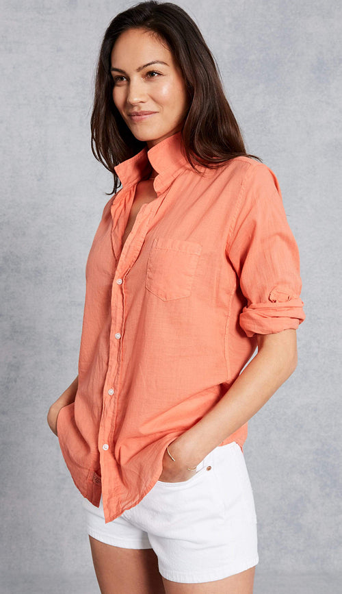 eileen button down shirt in orange cotton voile by frank and eileen