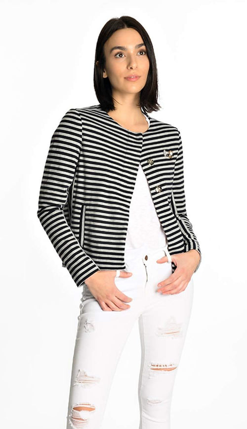 Oui Stripe Jersey Blazer Navy & Heather Grey