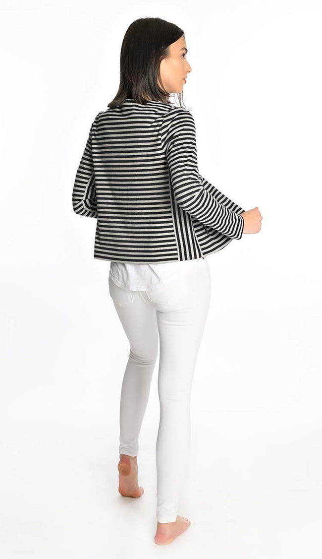 French stripe jersey blazer jacket back view
