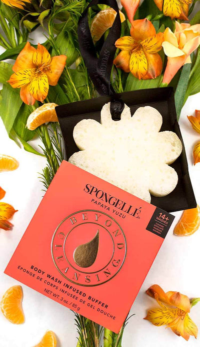 Spongelle papaya rose scented body wash sponge