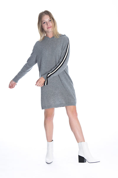 cashmere athletic hoodie tunic front view 2