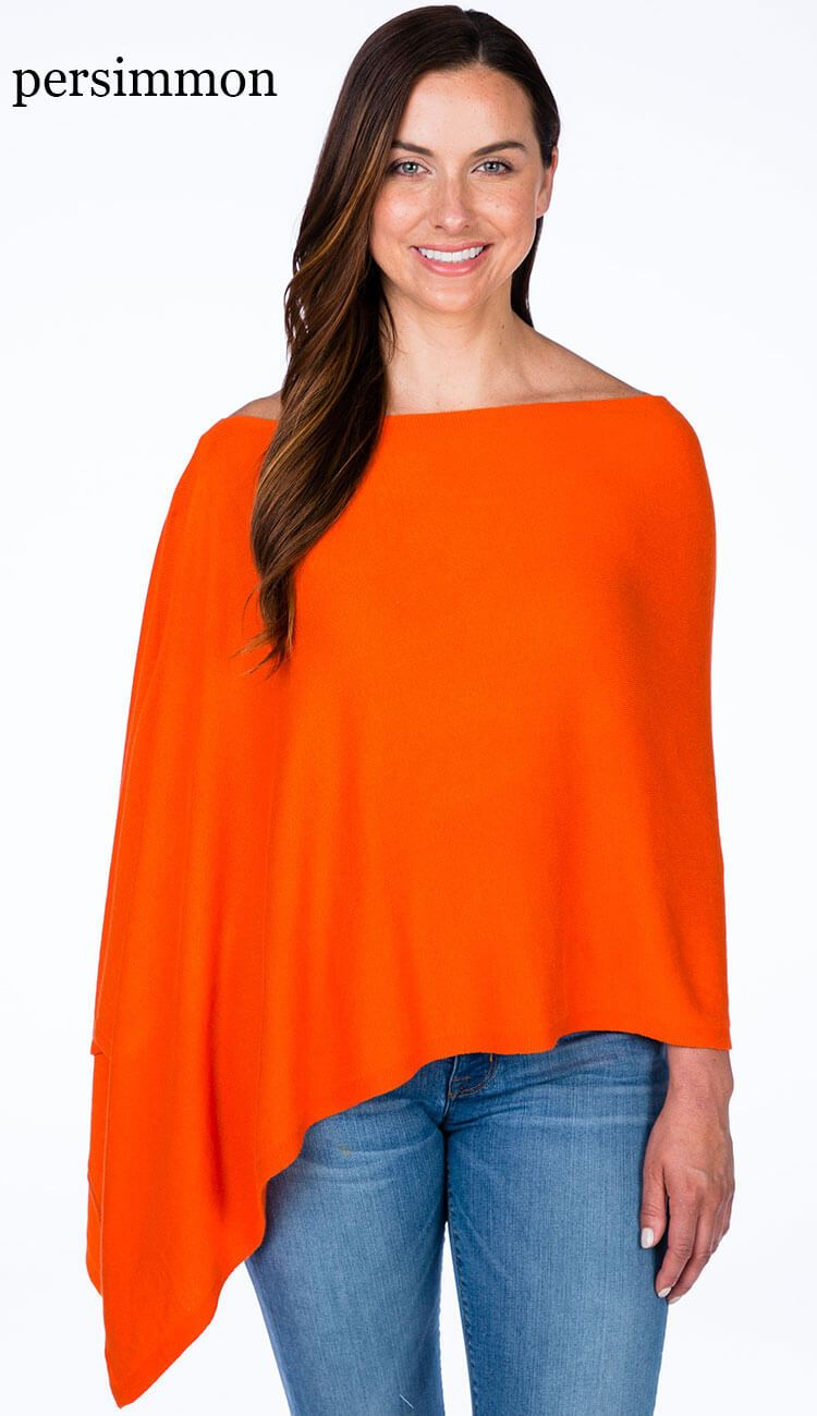caroline grace cotton cashmere topper in persimmon