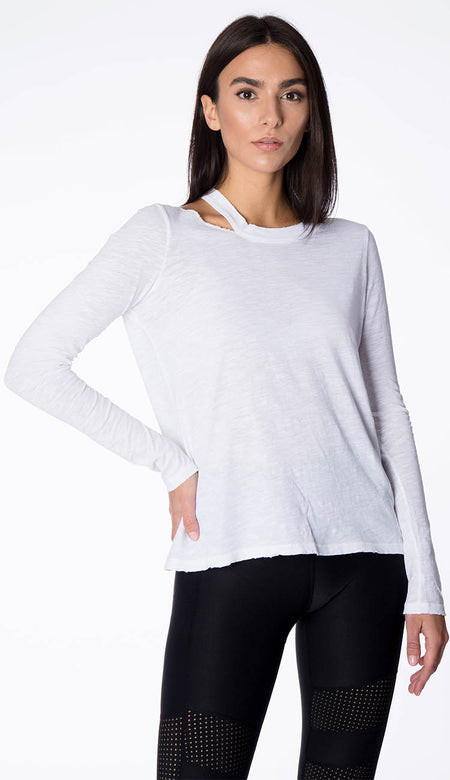 Cotton Tape Open Stitch Crewneck - Olivine