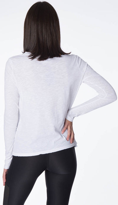 Alexa Long Sleeve tee shirt with distressing by Philanthropy back view
