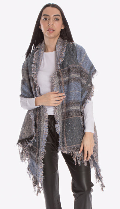 pia rossini jax blanket scarf in blue view paired with our faux leather joggers and white long sleeve tee