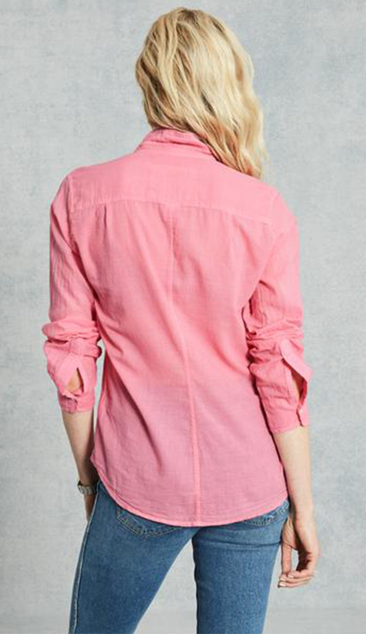 eileen Bubble Gum Pink Cotton Voile Button Down Shirt by Frank & Eileen back view