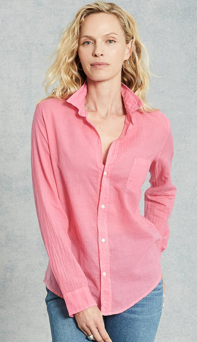 eileen Bubble Gum Pink Cotton Voile Button Down Shirt by Frank & Eileen
