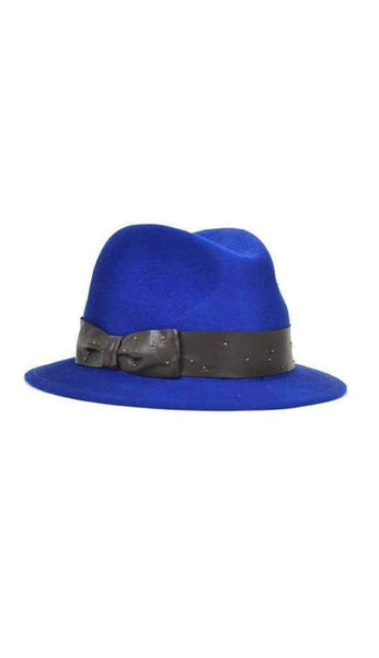 porkpie hat in blue by Eugenia Kim