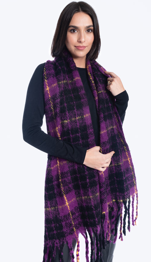 oversized scarf purple plaid