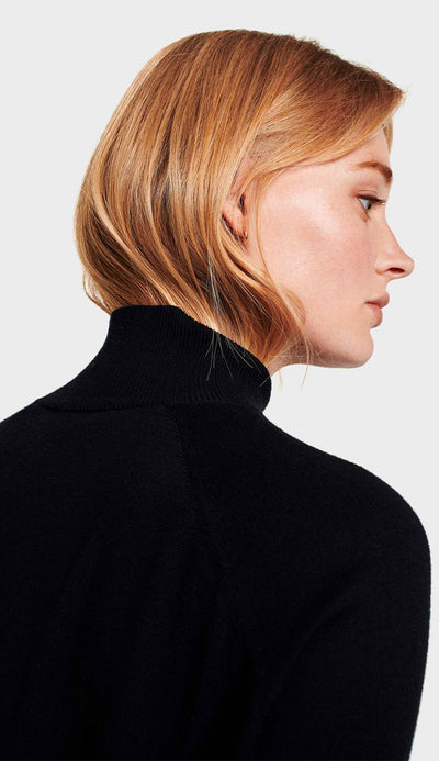 raglan turtleneck black silk detail view white and warren