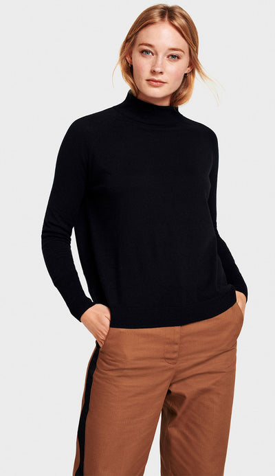 raglan turtleneck black silk full view white and warren