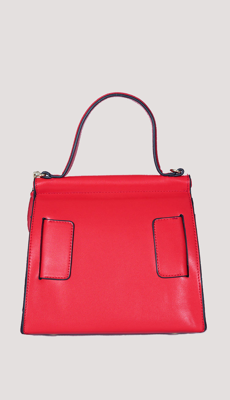 Carl top handled red handbag in red back view