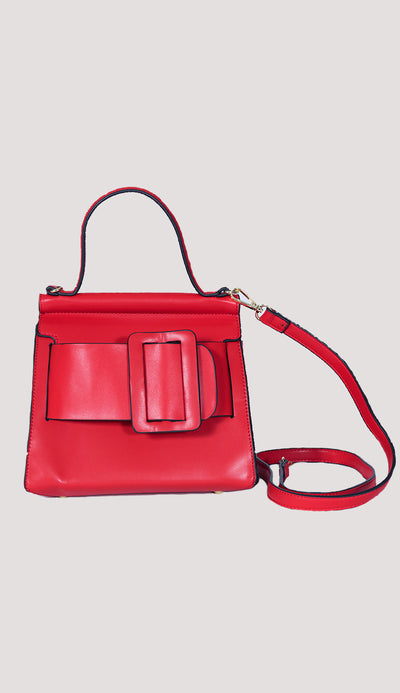 Carl top-handle handbag by Inzi in Red full front view