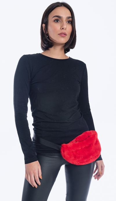faux fur fanny pack in risky red  - paula and chlo
