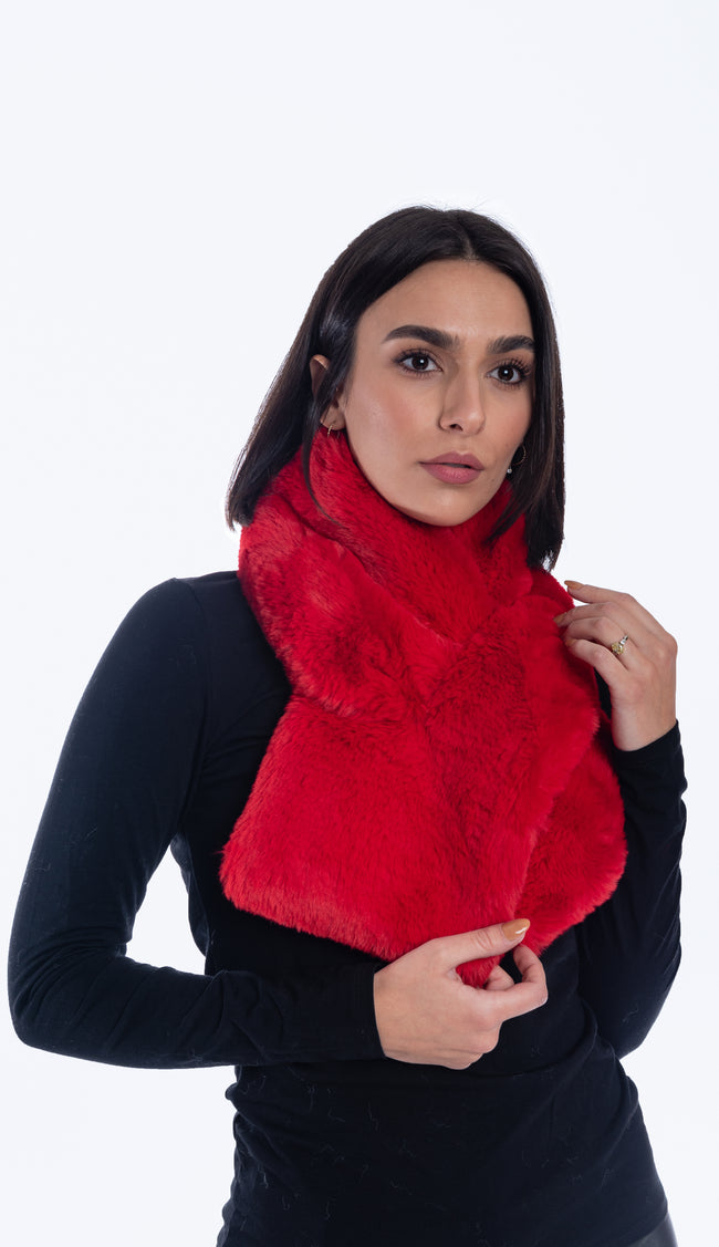 risky red faux fur pull through scarf